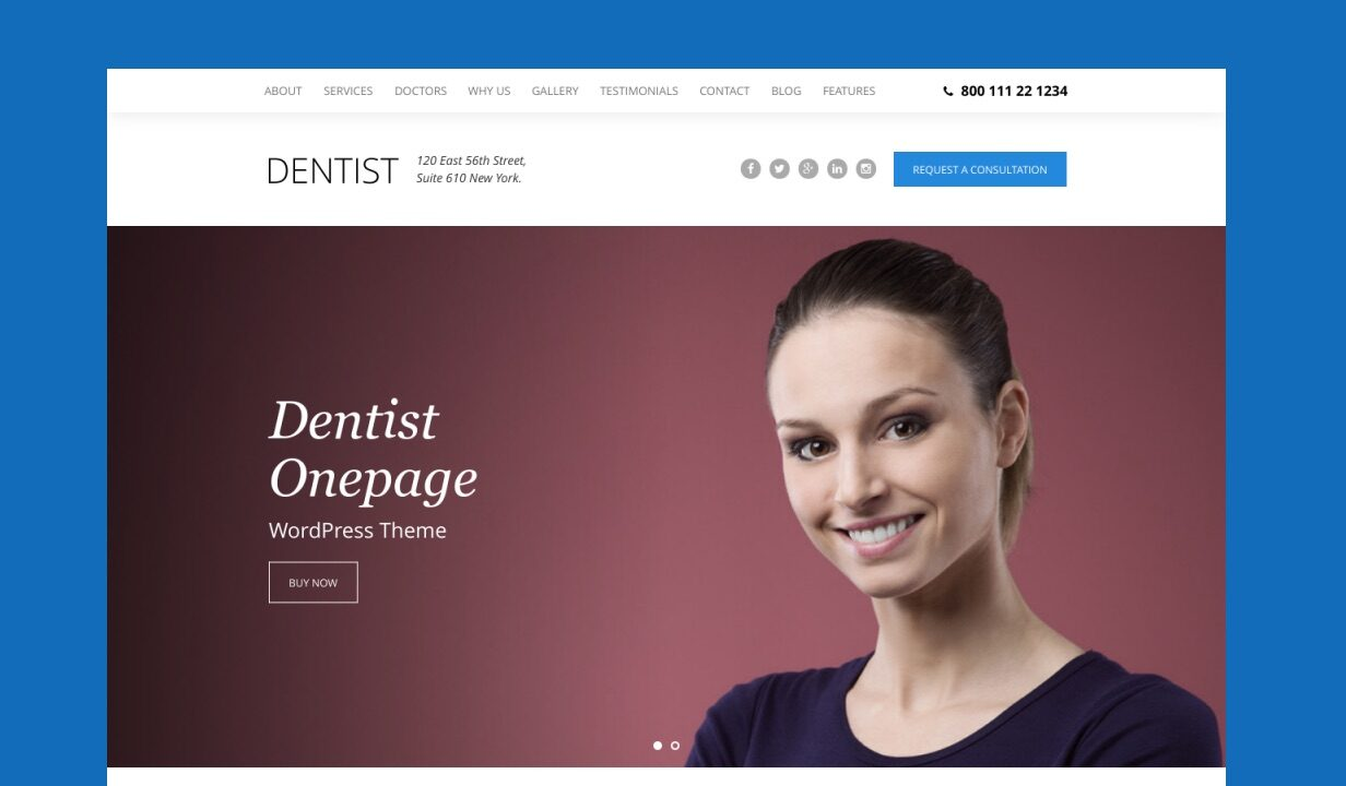 Dentist - Dental One Page WordPress Theme - 1