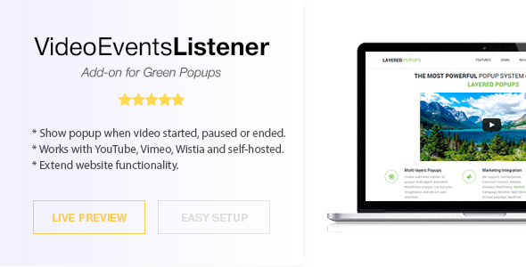 Video Events Listener - Green Popups Add-On
